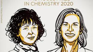 Emmanuelle Charpentier et Jennifer Doudna, Prix Nobel de chimie 2020.