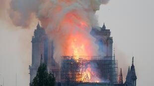 A punk monument in the making: Notre-Dame Cathedral at the height of last week's blaze.