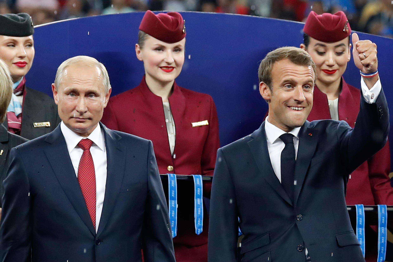 Президенты Путин и Макрон на матче Франция-Хорватия в Лужниках 15 июля 2018 г.