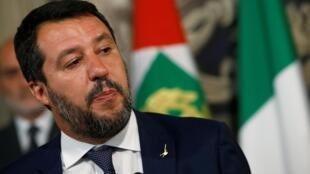 Le ministre de l'Intérieur italien sortant, Matteo Salvini, à Rome le 28 août 2019.