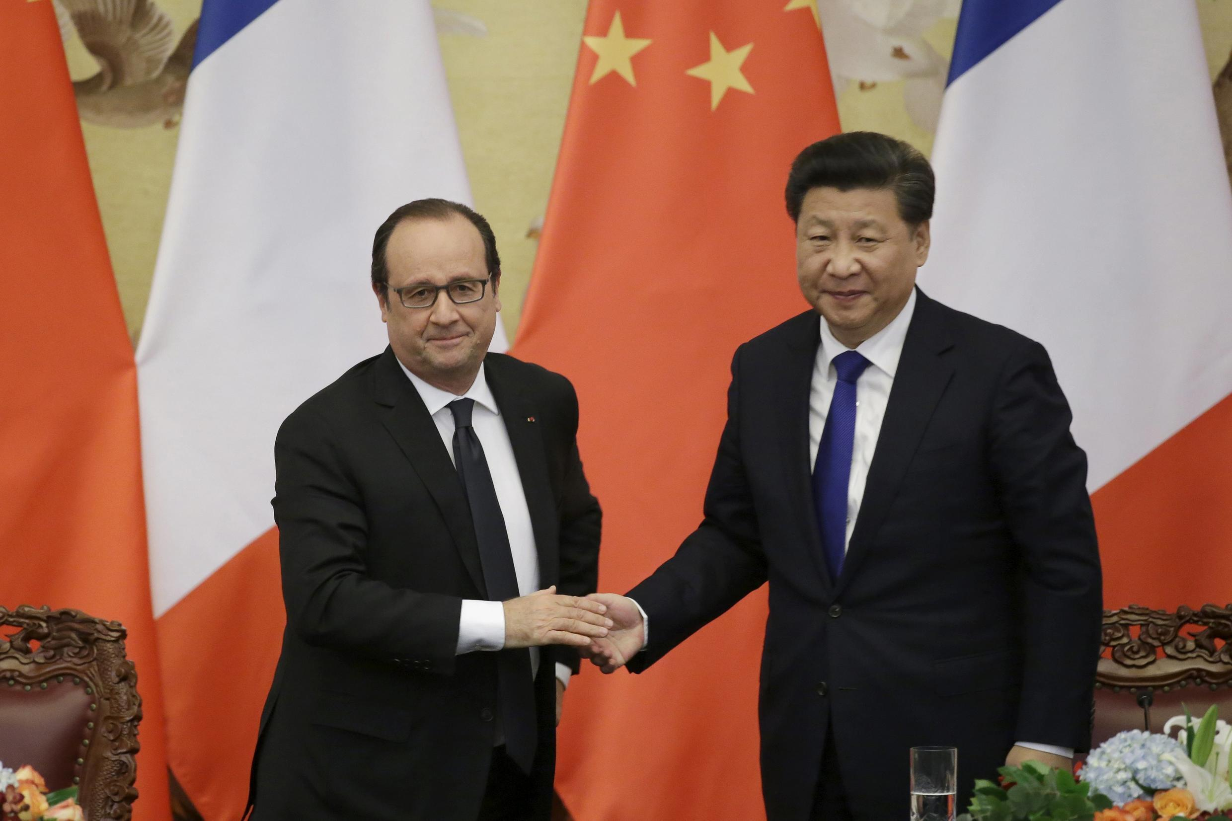France's President Francois Hollande with his Chinese counterpart Xi Jinping