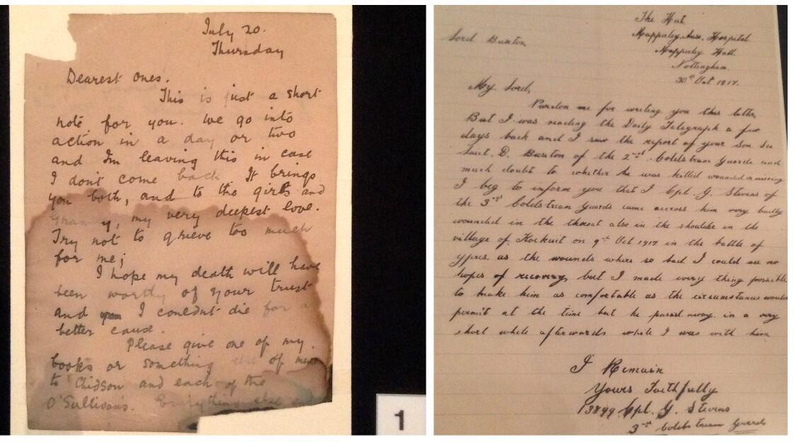 Fotos de cartas da Primeira Guerra Mundial de soldados.