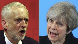 Jeremy Corbyn y Theresa May.