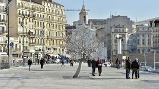 Quai du Vieux Port de Marseille, ici le 7 janvier 2013, aménagé dans le cadre de la Capitale européenne de la culture 2013.
