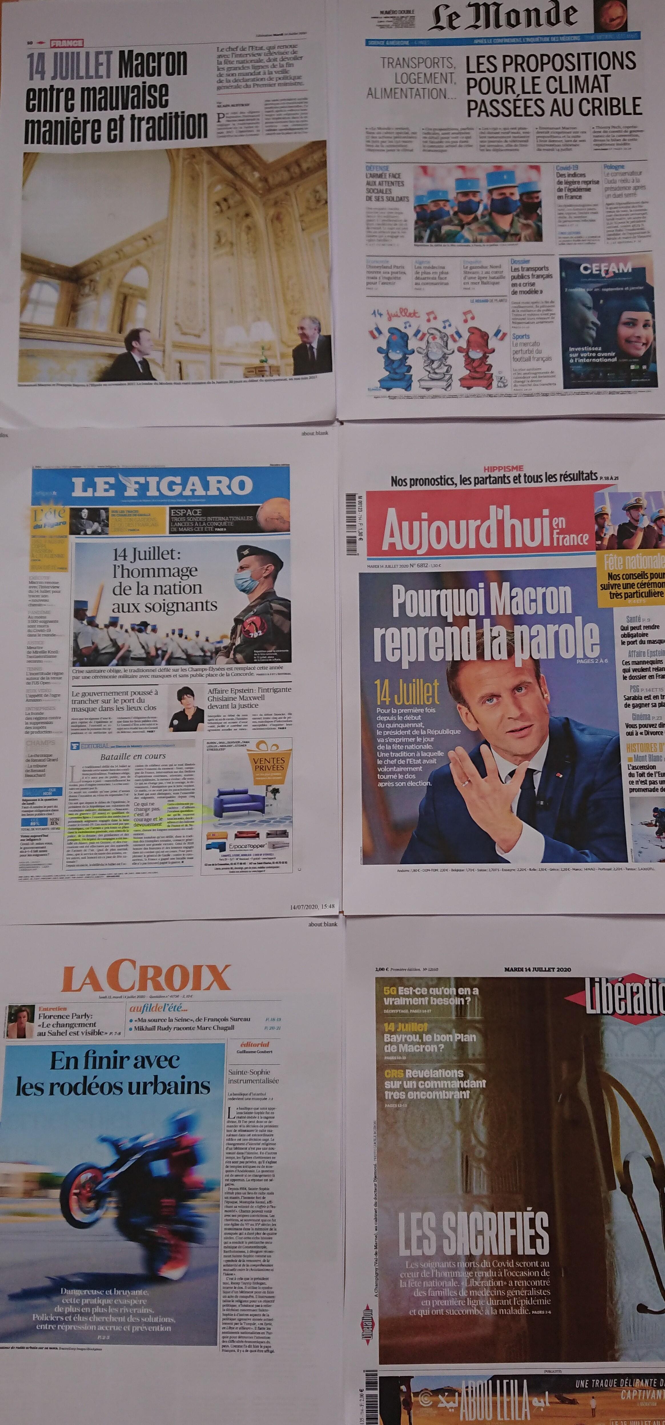 Diários franceses  14 07 2020
