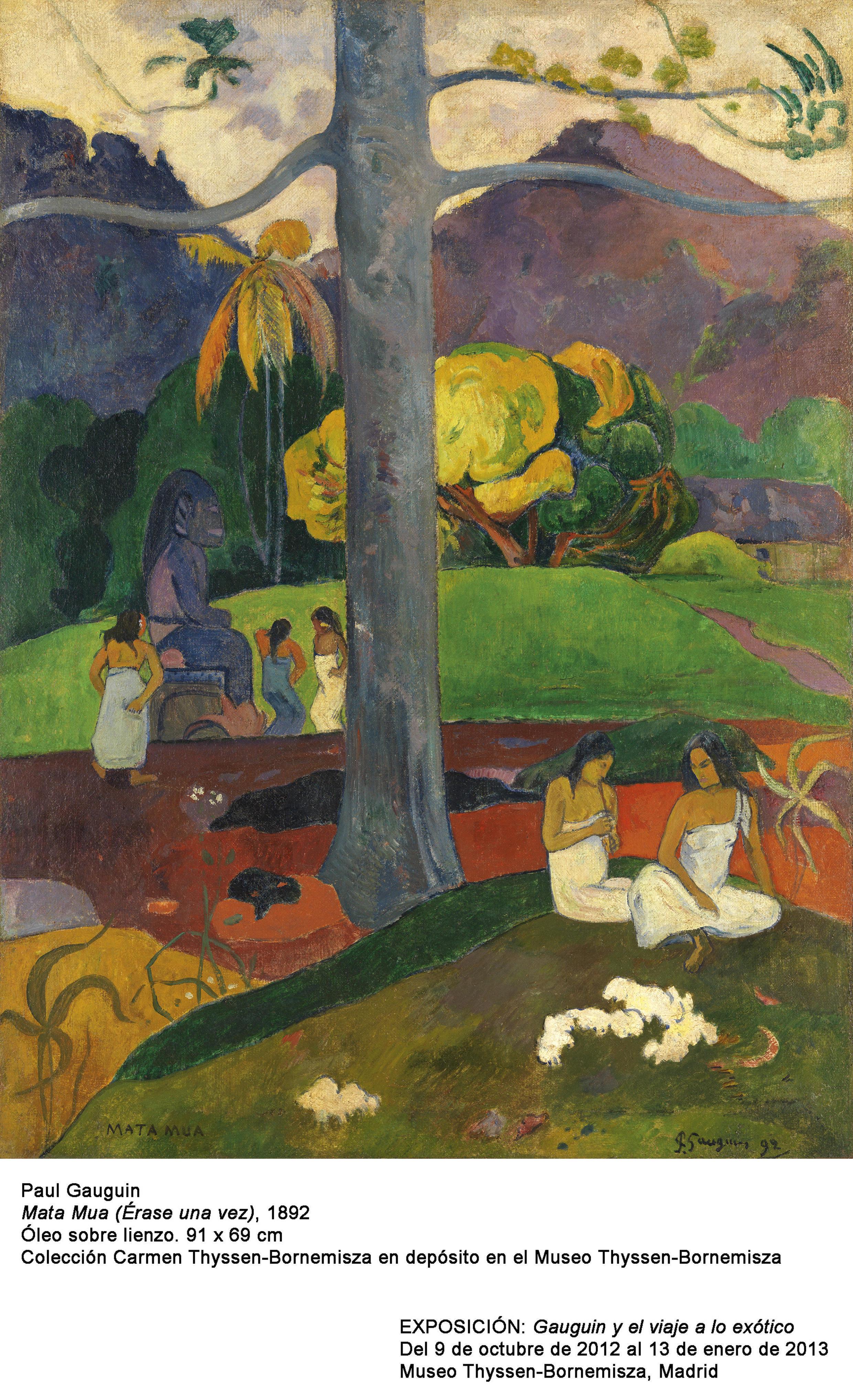 """O quadro """"Mata Mua"""" é uma das telas de Gauguin inspiradas por sua viagem ao Taiti."""