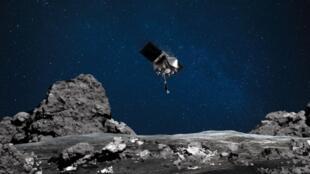 Représentation artistique de la Nasa de la sonde Osiris-Rex approchant de l'astéroïde Bennu.