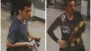 """تصویر دو مسافر """"بوئینگ ٧٧٧ """" هواپیمائی مالزی که با گذرنامههای دزدی سفر میکردند. """"پوریا نور محمد مهرداد"""" (نفر سمت چپ)، جوان ١٩ساله ایرانی که به مقصد فرانکفورت سفر میکرده توسط پلیس شناسائی شده ولی در مورد هویت نفر دوم (سمت راست)  هنوزخبر رسمی در دست نیست."""