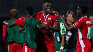 Michael Olunga vient d'incrire le troisième but qui donne la victoire au Kenya face à la Tanzanie. Le 27 juin 2019.