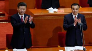 Chủ tịch Trung Quốc Tập Cận Bình (T) và thủ tướng Lý Khắc Cường tại lễ kỷ niệm 95 năm ngày thành lập đảng Cộng sản Trung Quốc.