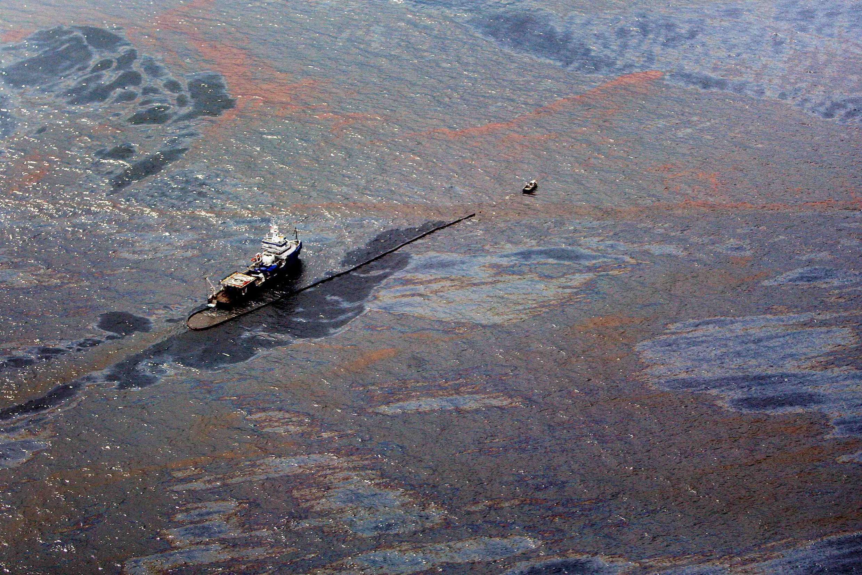 Mancha de maré negra no Golfo do México.