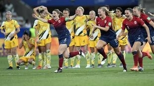 Norway celebrate moving into the quarterfinals of the Women's World Cup as Australia miss twice from the spot, Nice, France, 22 June 2019.