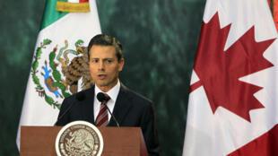 El presidente mexicano, Enrique Peña Nieto, da la bienvenida al primer ministro canadiense Stephen Harper en el Palacio Nacional de México, el 18 de febrero de 2014.