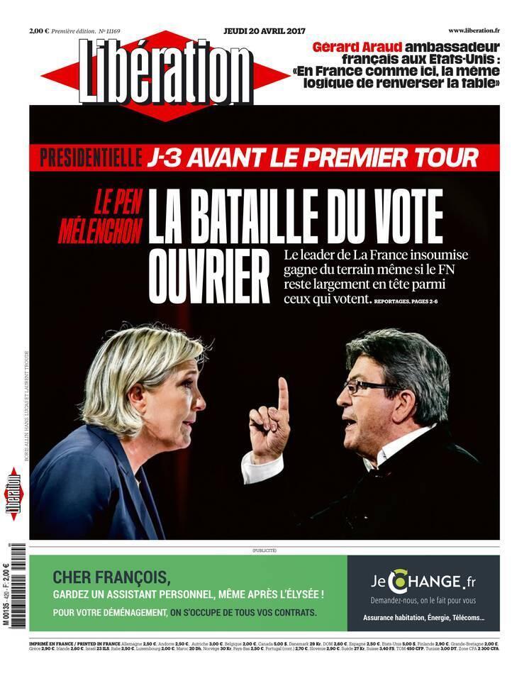 """صفحه اول روزنامه""""لیبراسیون""""، پنجشنبه ٢٠ آوریل ٢٠۱٧"""