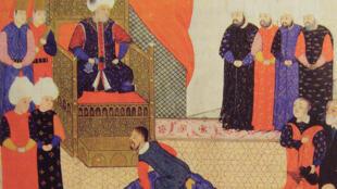 Jean Sigismund de Hongrie avec Soliman en 1556. Anonyme. Les Collections de l'Histoire. Les Turcs, octobre 2009.