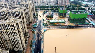 7月21日鄭州一處街景鳥瞰