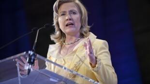 Hillary Clinton, la secrétaire d'Etat américaine, lors de son discours  au siège de l'Unesco, à Paris le 26 mai 2011.