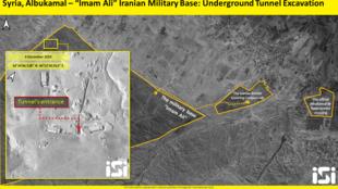 تصویر ماهوارهای از تونلی در دست احداث در منطقۀ بوکمال در سوریه واقع در نزدیکی مرزعراق