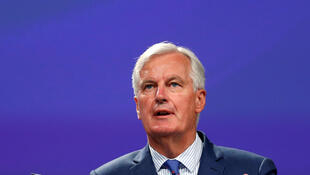Trưởng đoàn đàm phán Liên Hiệp Châu Âu Michel Barnier trong cuộc họp báo ngày 31/08/2017, tại Bruxelles.