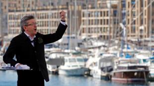 Jean-Luc Mélenchon lors de son meeting à Marseille, le 9 avril 2017.