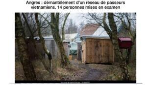 """Camp d'Angres, trại trung chuyển của người nhập cư Việt cách Calais khoảng 100 km. Ảnh chụp màn hình từ France 3 """"Angres: Phá vỡ một mạng lưới đưa người Việt Nam, 14 người bị bắt"""", ngày 09/02/2018."""