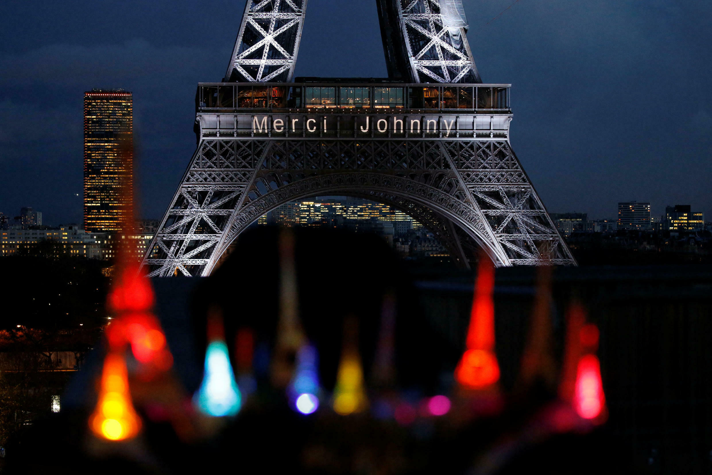 """""""Thank you Johnny"""" on the Eiffel Tower in Paris on 8 December, 2017"""