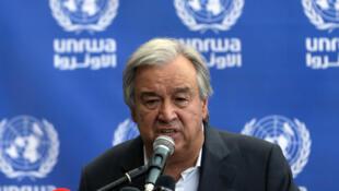 Le secrétaire général des Nations Unies Antonio Guterres, lors d'une conférence de presse dans la bande de Gaza, le 30 août 2017.