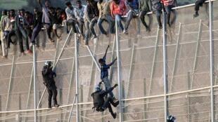 Des officiers de la «Guardia civil» espagnole tentent d'arrêter des migrants africains qui veulent rejoindre l'Espagne par l'enclave de Melilla en territoire marocain. Photo datée du 15 octobre 2014.