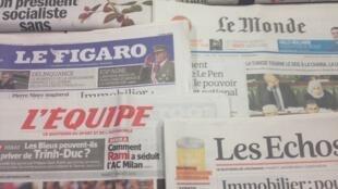 Primeiras páginas diários franceses 7/1/2014