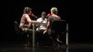 Nathalie Amar en compagnie de Marie-Paule Huet et Sansy Kaba Diakité à Conakry, septembre 2018.