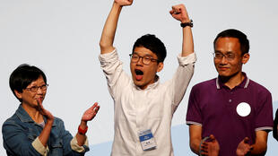 圖為香港雨傘運動領袖之一羅冠聰2016年9月5日當選香港立法會議員