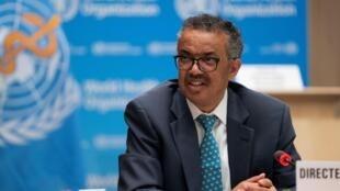 Tedros Adhanom Ghebreyesus, directeur général de l'OMS, lors de l'ouverture de la 73e assemblée (virtuelle) de l'agence, à Genève en Suisse, le 18 mai 2020.