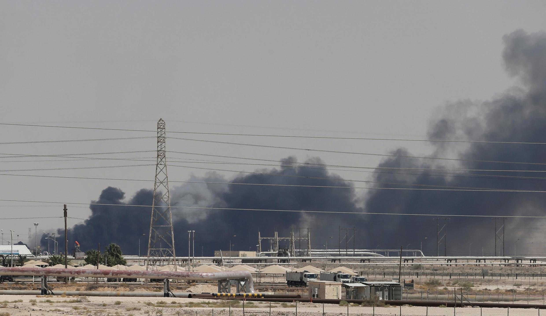 Burning site at the Aramco facility at Abqaiq, Saudi Arabia, 14 September 2019