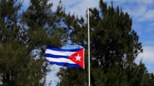 La bandera cubana a media asta después del anuncio de la muerte del líder máximo, La Habana, 26 de noviembre de 2016.