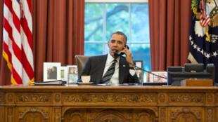 Dans le bureau ovale de la Maison Blanche, Obama s'entretient avec Hassan Rohani, Washington, le 27 septembre 2013.