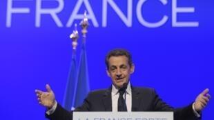 O presidente francês, Nicolas Sarkozy, em campanha pela reeleição.