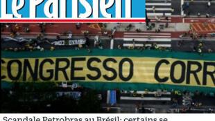 "Título do jornal Le Parisien: ""Escândalo Petrobras no Brasil: alguns procuram a impunidade""."