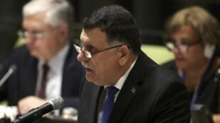 Le chef du gouvernement libyen d'union nationale, Fayez el-Sarraj lors de l'assemblée générale de l'ONU à New York, le 19 septembre 2016.
