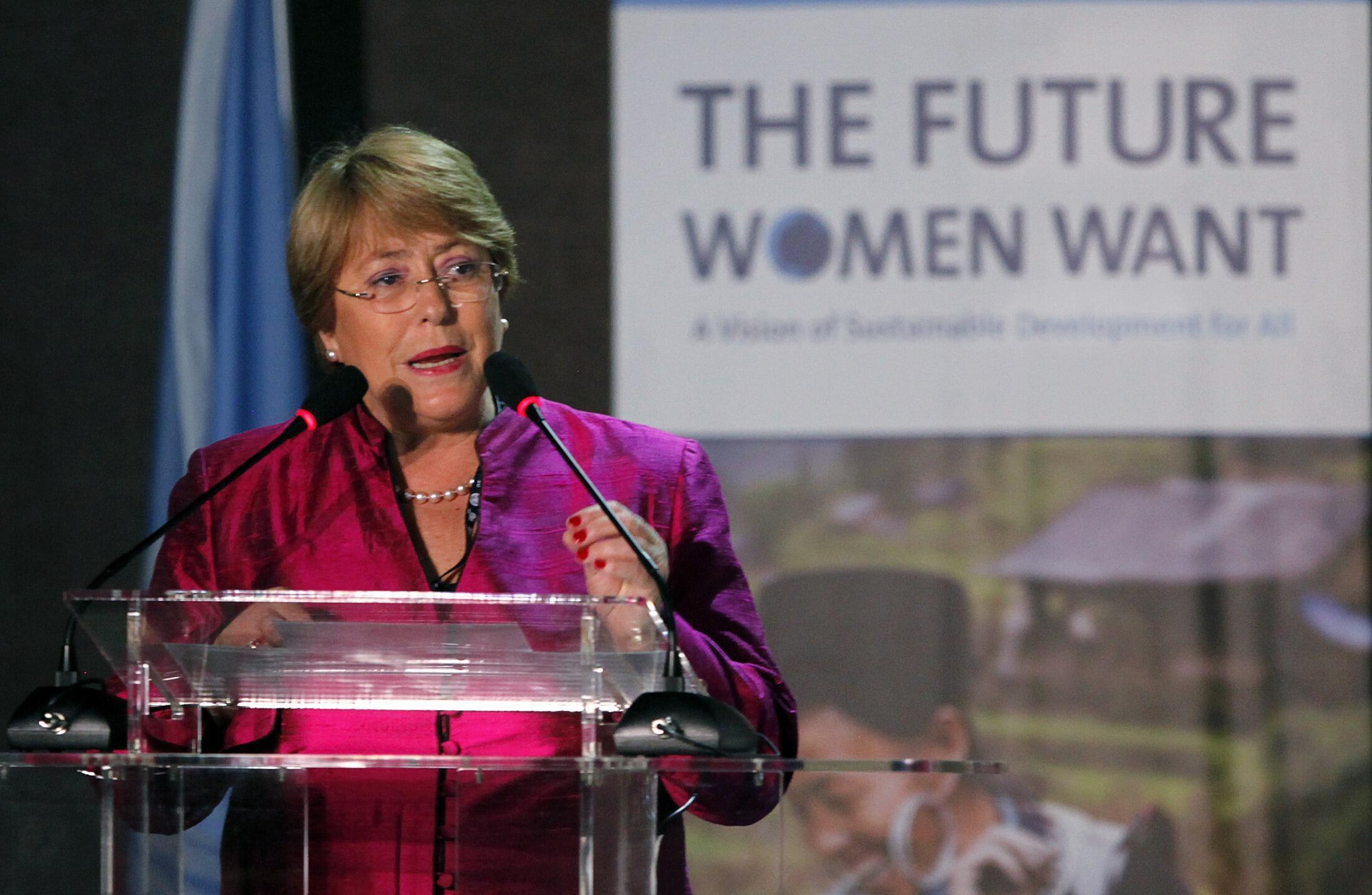 Michelle Bachelet, ex-presidente do Chile, durante a Rio+20.