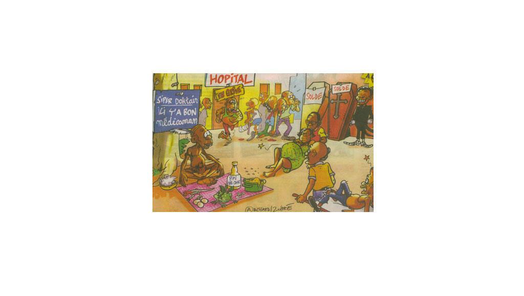 En période de crise, les vendeurs de « médicaments africains » prospèrent… (Illustration (détail) de Richard/Zohoré tirée du journal ivoirien Gbich! (N°414, 21 au 27/09/07).