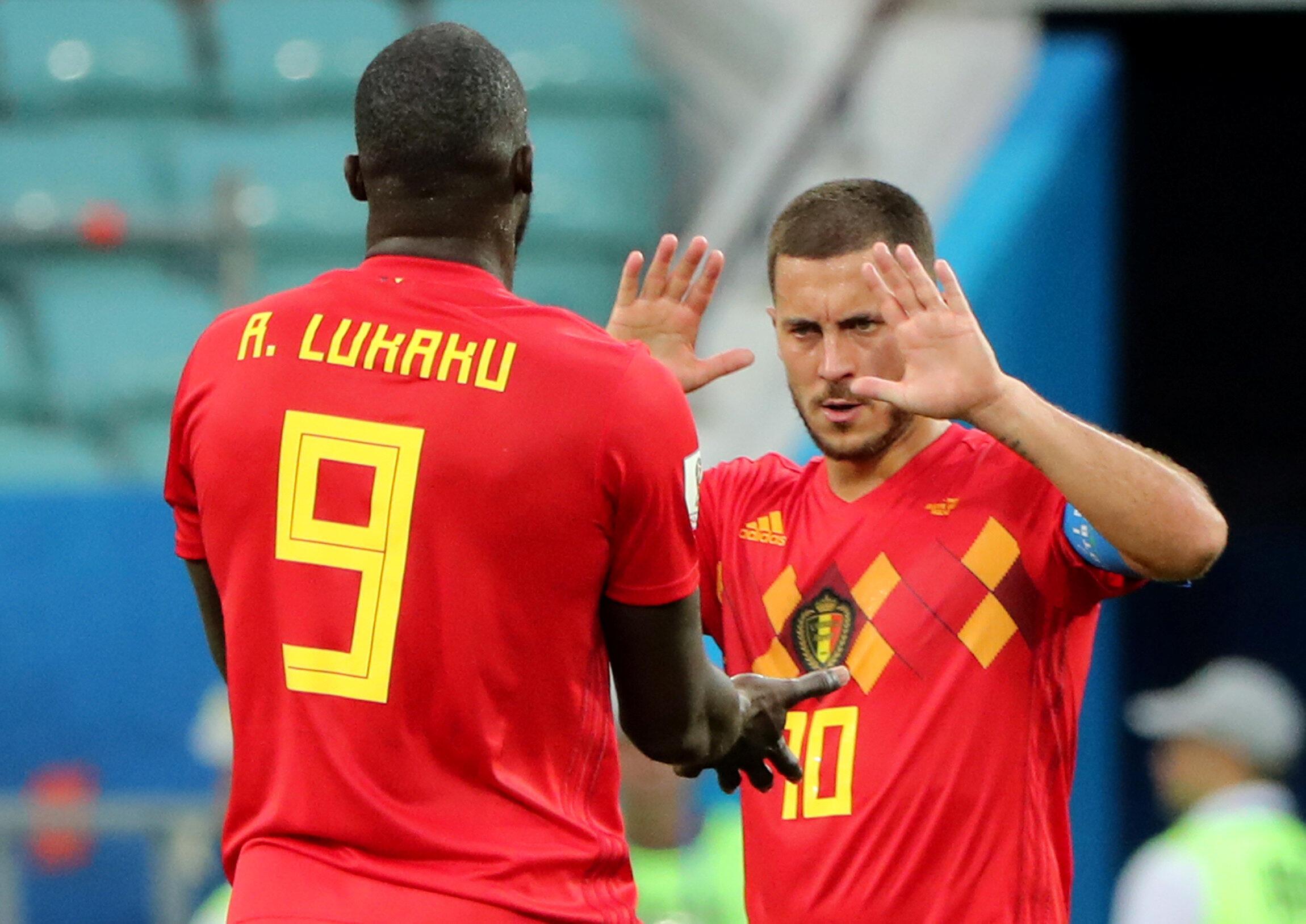 Romelu Lukaku (esquerda), avançado belga com origens congolesas, e Eden Hazard (direita), médio dos Diabos Vermelhos, têm sido as mais-valias ofensivas da Bélgica.