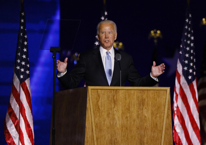 Ứng cử viên Dân Chủ Joe Biden phát biểu sau khi báo chí thông báo ông đã đắc cử tổng thống Mỹ. Wilmington, Delaware, Hoa Kỳ, ngày 07/11/2020.