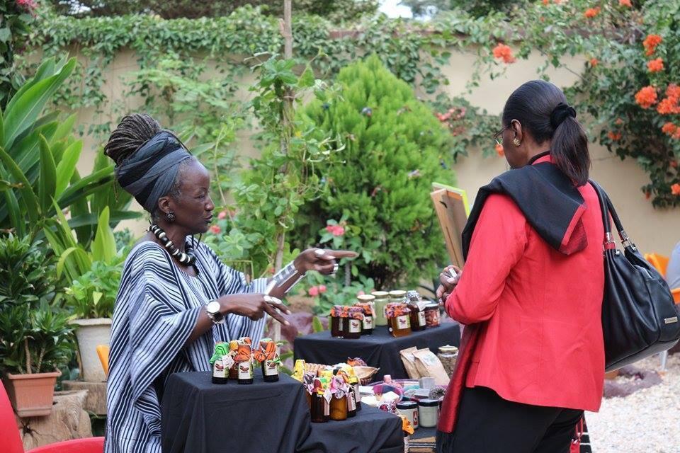 Dr Aïcha Conté with her Nyara products.