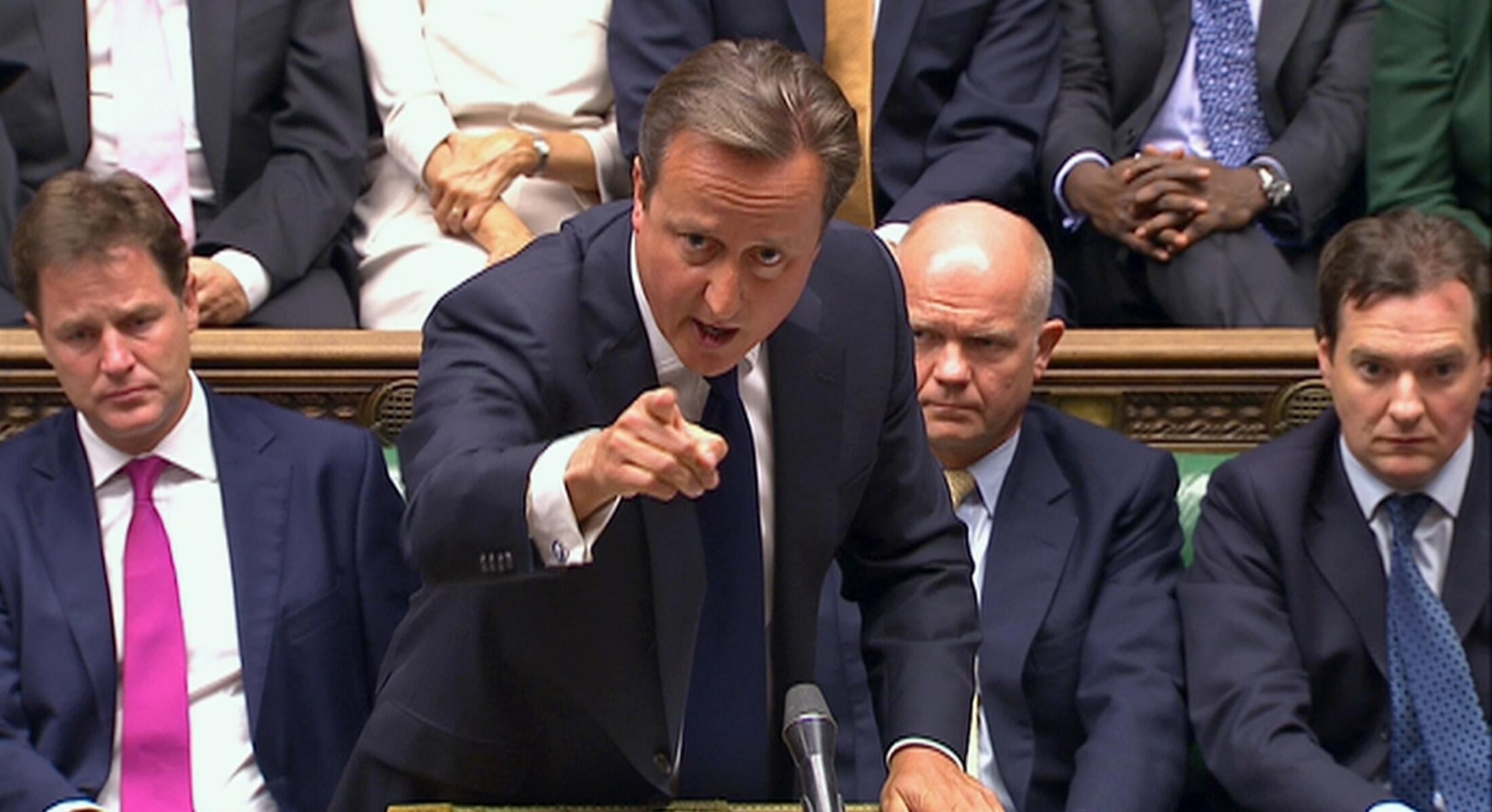 Thủ tướng Anh David Cameron trình bày về tình hình Syria trước Hạ viện Anh - REUTERS /UK Parliament via Reuters TV