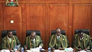 Supreme Court Justice Smokin Wanjala (R) with other judges, 25 March 2013