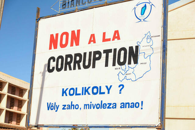 Panneau contre la corruption à Madagascar. (Photo d'illustration)