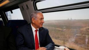 Benyamin Netanyahu, lors de l'inauguration partielle de la ligne de train à grande vitesse Jérusalem-Tel-Aviv le 20 septembre 2018.
