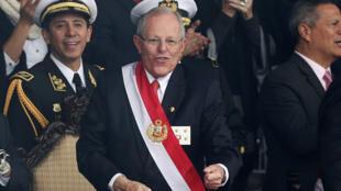 El presidente de Perú, Pedro Pablo Kuczynski, quien enfrenta una serie de huelgas, durante el desfile militar por la celebración en Lima de la independencia de Perú el 29 de julio de 2017.