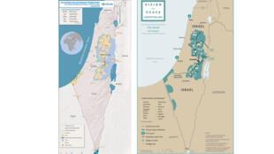 """Bản đồ bên phải: Vùng lãnh thổ Nhà nước Palestin tương lai theo kế hoạch Hòa bình """"Tầm nhìn"""" của TT.Donald Trump."""