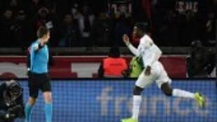 Marcus Thuram scored Guingamp's winner at Paris Saint-Germain in stoppage time.